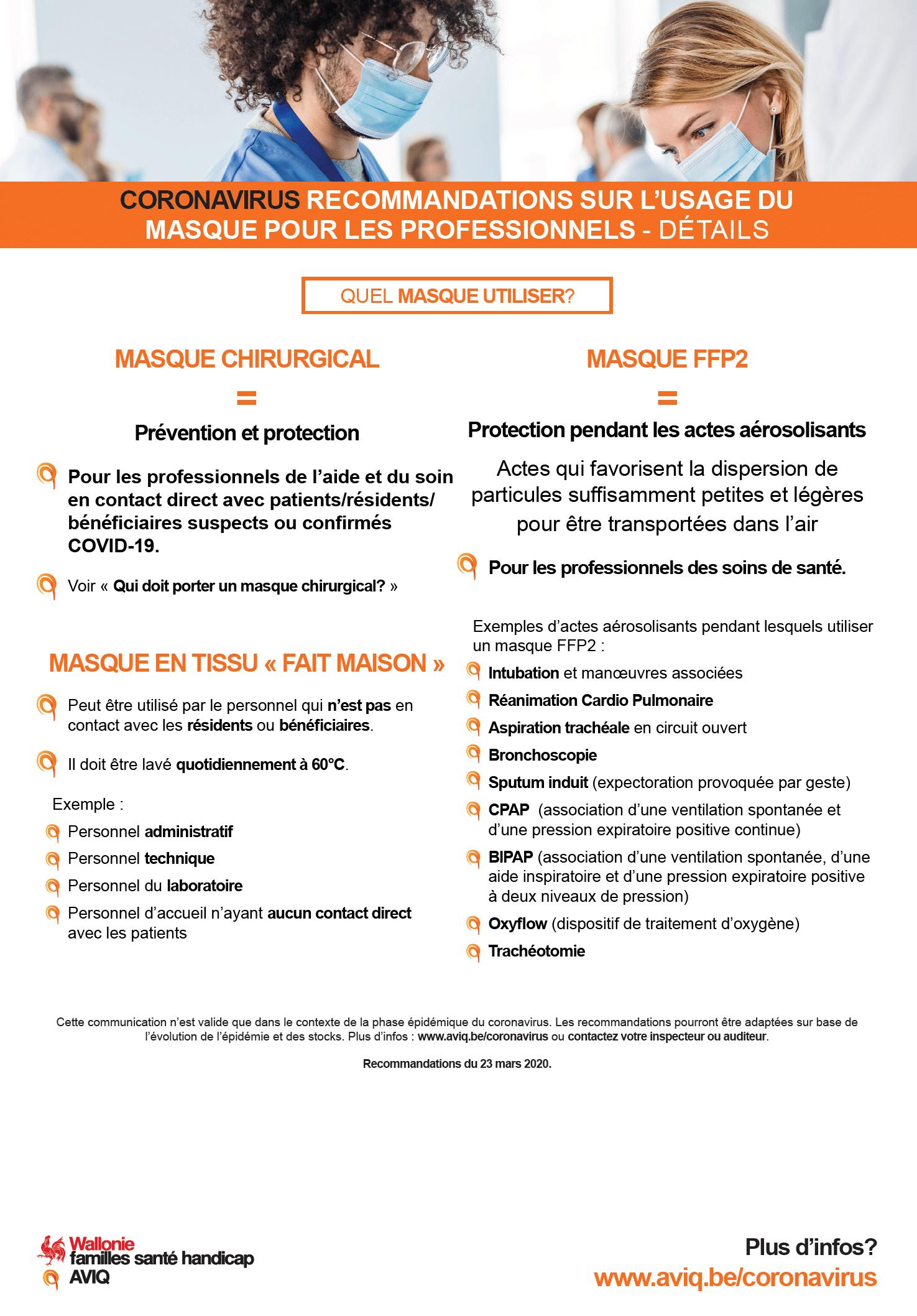 Covid-19 recommandations sur l'usage des masques pour les professionnels 2